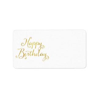 Happy Birthday Gold Faux Glitter Metallic Sequins Address Label
