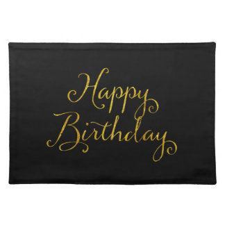 Happy Birthday Gold Faux Glitter Metallic Sequins Placemat