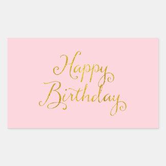 Happy Birthday Gold Faux Glitter Metallic Sequins Rectangular Sticker