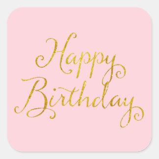Happy Birthday Gold Faux Glitter Metallic Sequins Square Sticker