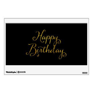 Happy Birthday Gold Faux Glitter Metallic Sequins Wall Sticker
