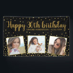 """Happy Birthday Gold Glitter Photos Any Year Custom Banner<br><div class=""""desc"""">Celebrate a big birthday with this banner featuring 3 photos of the birthday girl/boy,  2 custom text headlines,  all set against a black background accented with faux gold glitter confetti sparkles.  Fun and festive perfect for any birthday celebration.</div>"""