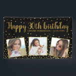 "Happy Birthday Gold Glitter Photos Any Year Custom Banner<br><div class=""desc"">Celebrate a big birthday with this banner featuring 3 photos of the birthday girl/boy,  2 custom text headlines,  all set against a black background accented with faux gold glitter confetti sparkles.  Fun and festive perfect for any birthday celebration.</div>"