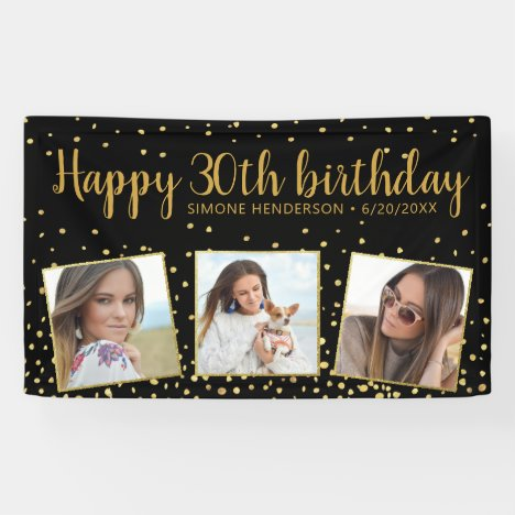 Happy Birthday Gold Glitter Photos Any Year Custom Banner