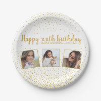 Happy Birthday Gold Glitter Photos Any Year Custom Paper Plate
