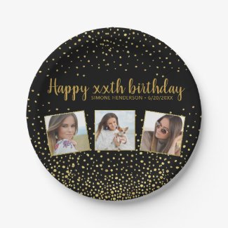Happy Birthday Gold Glitter Photos Any Year Custom Paper Plate