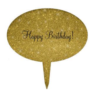 Happy birthday gold glitter stars cake topper