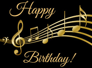 Happy Birthday Gold Music Notes On Elegant Black Classic Round Sticker