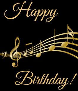 Happy Birthday Gold Music Notes On Elegant Black Small Gift Bag