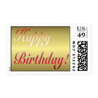 Happy Birthday Gold Postage