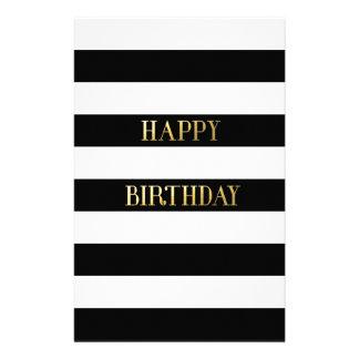 Happy Birthday Gold Personalized Stationery