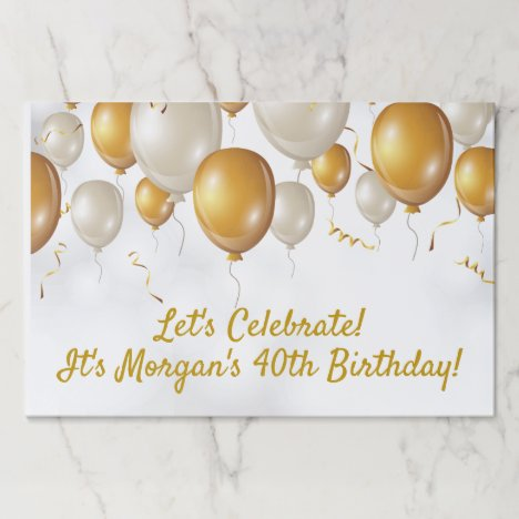 Happy Birthday Gold & White Balloons Modern Custom Paper Placemat