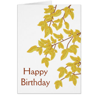 Happy Birthday Golden Autumn Leaves Card
