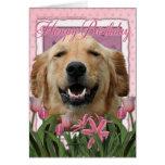 Happy Birthday - Golden Retriever - Mickey Greeting Card