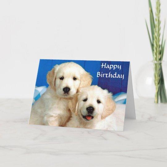 Happy Birthday Golden Retriever Puppies Card Zazzle