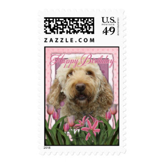 Happy Birthday - Goldendoodle Postage Stamp