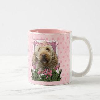 Happy Birthday - Goldendoodle Two-Tone Coffee Mug