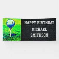 Happy Birthday Golf Ball Men's Banner