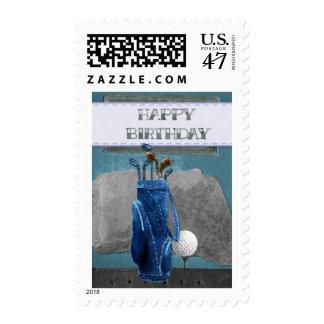 Happy Birthday Golf Clubs Stamp