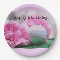 Happy Birthday golfer & golf ball and pink flower Paper Plate
