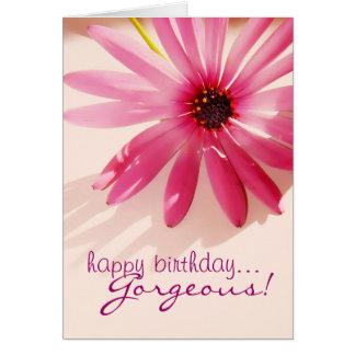 Happy Birthday Gorgeous Pink flower Card