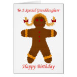 Happy Birthday granddaughter gingerbread girl Greeting Card