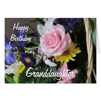 Happy Birthday Granddaughter-Pink Rose Bouquet Card