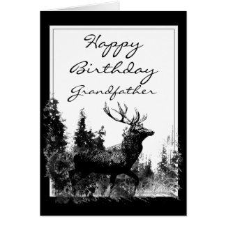 Happy Birthday grandfather Vintage Stag, Deer Card