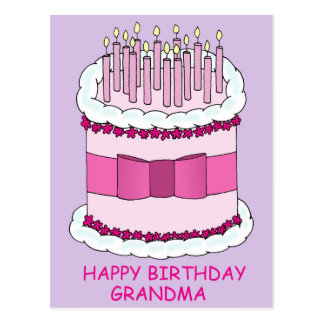 Happy Birthday Grandma, enormous cake with candles Postcard