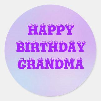 Happy Birthday Grandma Multi Tone Classic Round Sticker