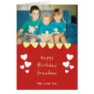 Happy Birthday Grandma photo card red yellow