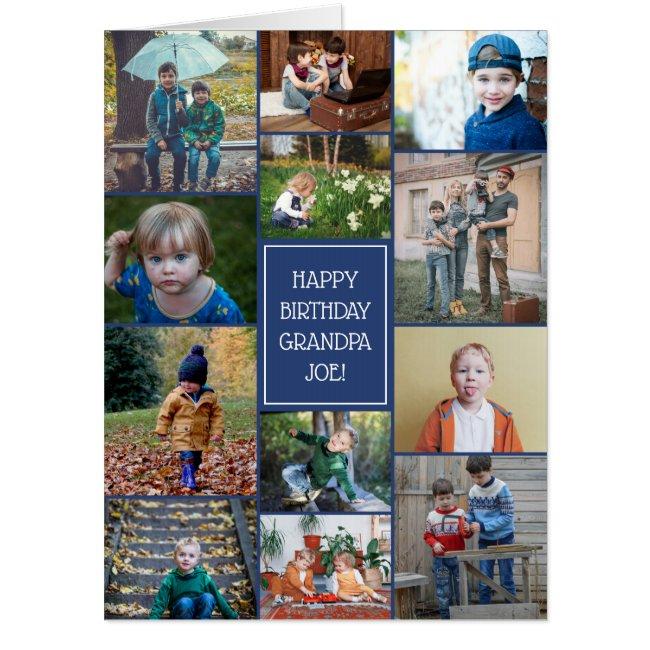 Happy Birthday Grandpa 12 Photo Collage Big Card