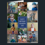 """Happy Birthday Grandpa 12 Photo Collage Big Card<br><div class=""""desc"""">Huge birthday card for grandpa printed with a photo collage of the grand kids surrounding a blue label where you can add grandpa's name.</div>"""