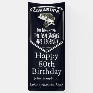 Happy Birthday Grandpa Bass Fishing Age Banner