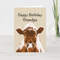 Happy Birthday Grandpa Cow Joke Humor Card
