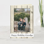 """Happy Birthday Grandpa Rustic Wood Photo Card<br><div class=""""desc"""">Something special for grandpa, this is the birthday card for him. A personalized greeting that features your family front and center, there is a lovely light grayish brown wooden background with a template for inserting your photo. The photo border can be adjusted to fit the size of the photo you...</div>"""