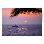 Happy Birthday Grandpa Tropical Sunset Greeting Cards