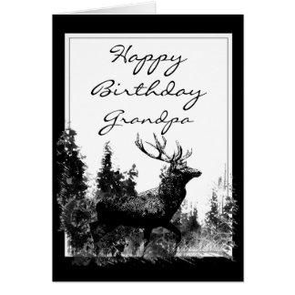 Happy Birthday Grandpa Vintage Stag, Deer Animal Card