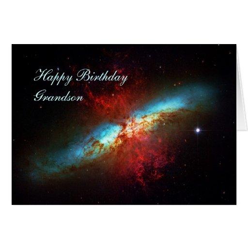 Happy Birthday Grandson - A Starburst Galaxy Card | Zazzle