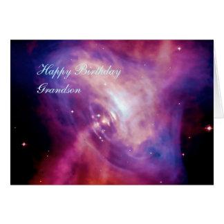 Happy Birthday Grandson - Crab Pulsar Time Lapse Card