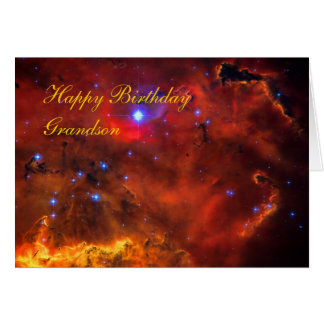 Happy Birthday Grandson, Emission Nebula in Puppis Greeting Card