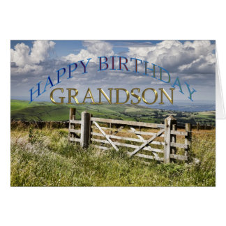 Happy Birthday Grandson, landscape with a gate Card
