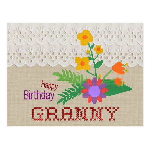 Happy Birthday Granny CC0683 Handicraft Postcard