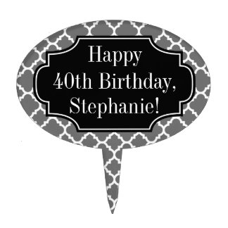 Happy Birthday Gray Quatrefoil Pattern Custom Name Cake Topper