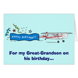 Happy Birthday Great-Grandson Airplane Card