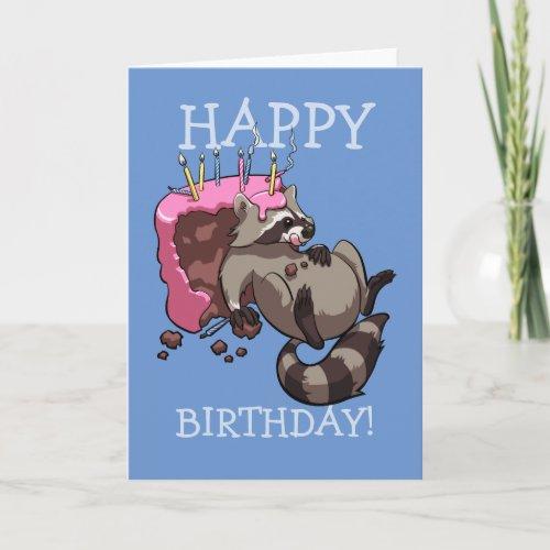 Happy Birthday Greedy Raccoon Eating Cake Cartoon Card