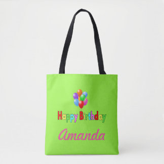 Happy Birthday Green Balloon Personalized Tote Bag
