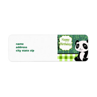 Happy Birthday Green Bamboo Panda Label