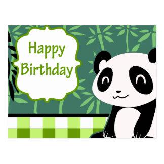 Happy Birthday Green Bamboo Panda Postcard
