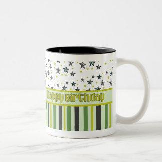 Happy Birthday green black yellow Mug